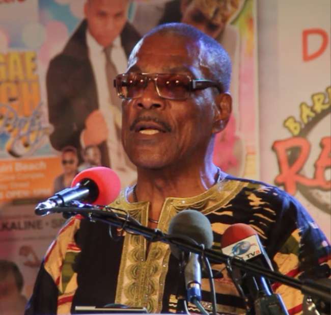 FAS Entertainment director Al Gilkes addressing the Reggae Festival launch last night at Kensington Oval.