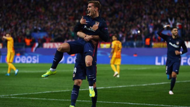 Antoine Griezmann scored twice for Atletico Madrid.