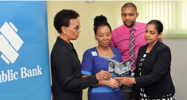 From left, Bayview  Hospital administrator  Winifred Edwards,  Bayview office manager  Sophia Yearwood,  Republic Bank Card Services Department manager Ryan Durant and  Republic Bank general manager (retail banking) Susan Torry.