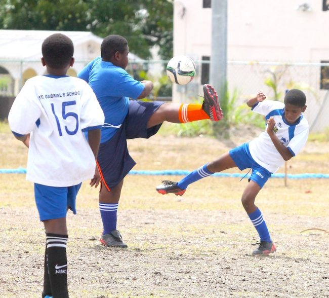 Alvin Boyce of Vauxhall Primary was an imposing figure in the sweeper position today and gave his all against  St Gabriel's.