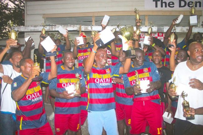 Royalty Masters of Barbados celebrate their first ever Barbados International Masters Football Festival title. (Pictures by Morissa Lindsay)