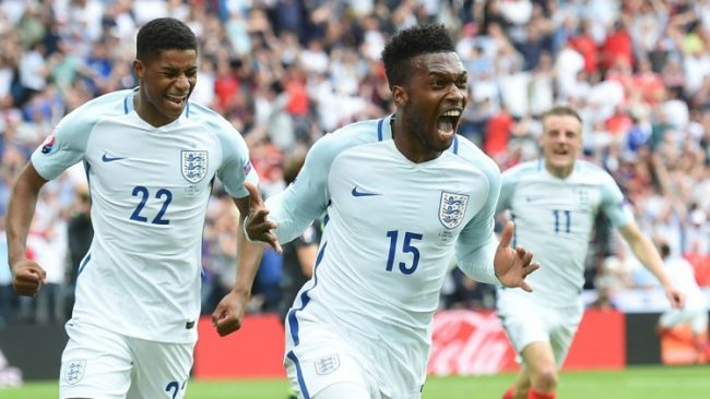 Daniel Sturridge (No.15) screams his delight after scoring England's late winner.