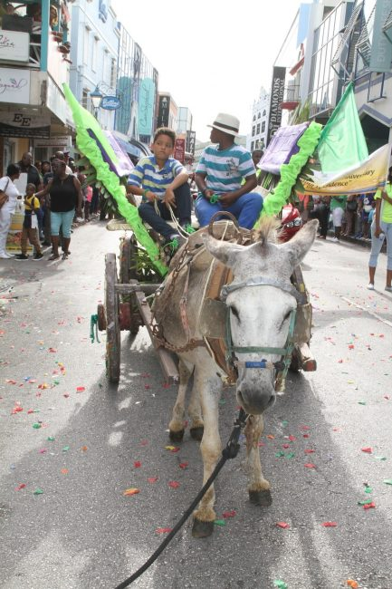These youngsters were eager to be riding on a donkey cart during the parade.