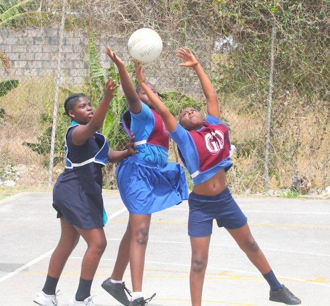 St Albans' goal-defence Ciara Edwards ensured the ball did not reach St Lucy Primary goal-shooter Akayla Harvey.