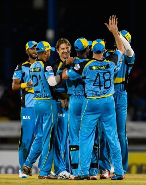 St Lucia Zouks had reason to celebrate last night after winning the 2016 CPL opener at the Queen's Park Oval.