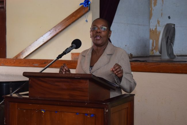 Permanent Secretary in the Ministry of Culture Sports and Youth Ruth Blackman delivering the closing remarks.