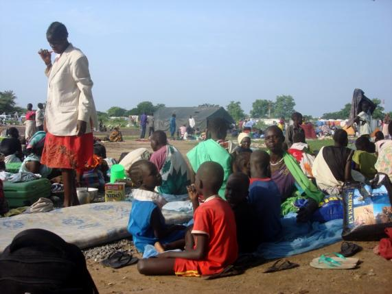 Displaced South Sudanese families are seen in a camp for internally displaced people in the United Nations Mission in South Sudan (UNMISS) compound in Tomping, Juba, South Sudan.