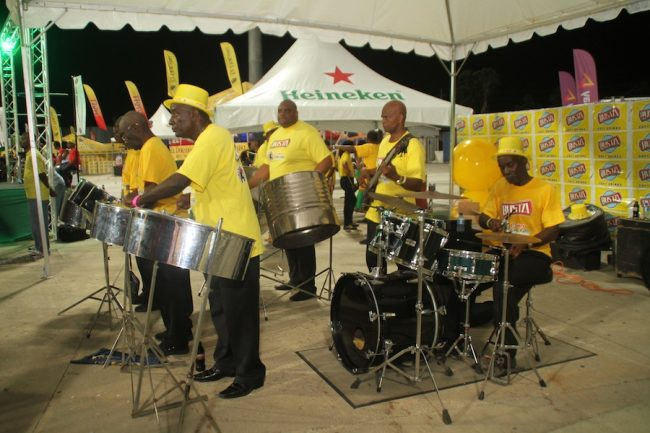 The Busta Steel Pan section playing in the Party Stand.