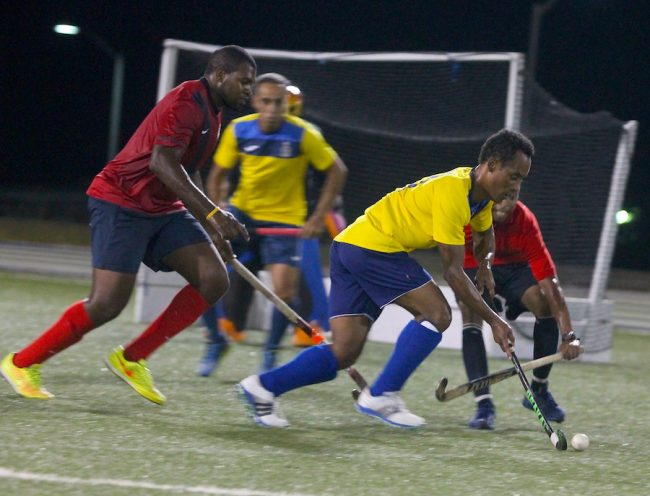 Dave Cox of Combermere School Old Scholars in total control of this play and responsible for equalizing against Deacons men and forcing the match into a penalty shootout. (Pictures by Morissa Lindsay)