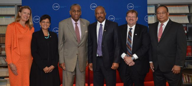 Left to right: SUNY Empire State College President Merodie Hancock; Pro Vice-Chancellor and Principal of The UWI Open Campus Dr Luz Longsworth; SUNY Board  of Trustees Chairman Carl McCall; UWI Vice Chancellor Professor Sir Hilary Beckles; SUNY Provost and Executive  Vice Chancellor Alexander Cartwright; and UWI Pro Vice-Chancellor for Global Affairs Richard Bernal.