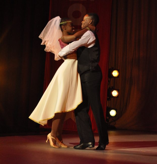 One of the couples performing  the dance Love Story.
