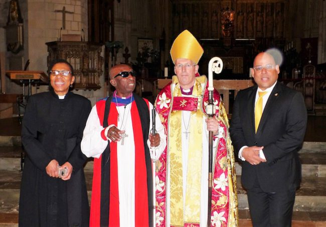 From left, Reverend Canon Dr Rosemarie Mallett, Bishop Wilfred Wood, Bishop Christopher Chessun and HC Hewitt.