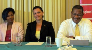 FROM LEFT: Mahalia of NexCyx, Rotary President Sonya Alleyne and Digicel's Commercial Director Alex Tasker.