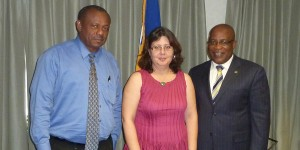 Permanent Secretary in the Ministry of the Environment and Drainage, Edison Alleyne, Cuban Ambassador Lissette Peréz Peréz and Environment Minister, Dr. Denis Lowe during the courtesy call.
