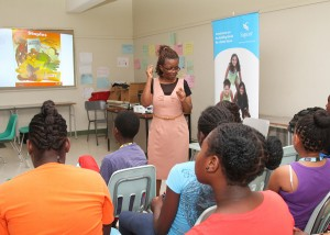Nutritionist Beverly Stanford explaining food groups to the campers.