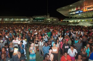 A large crowd at Kensington Oval.