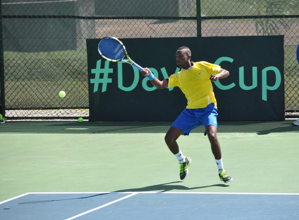 Barbados' number one Darian King returning to Christian Garin during his winning performance today.