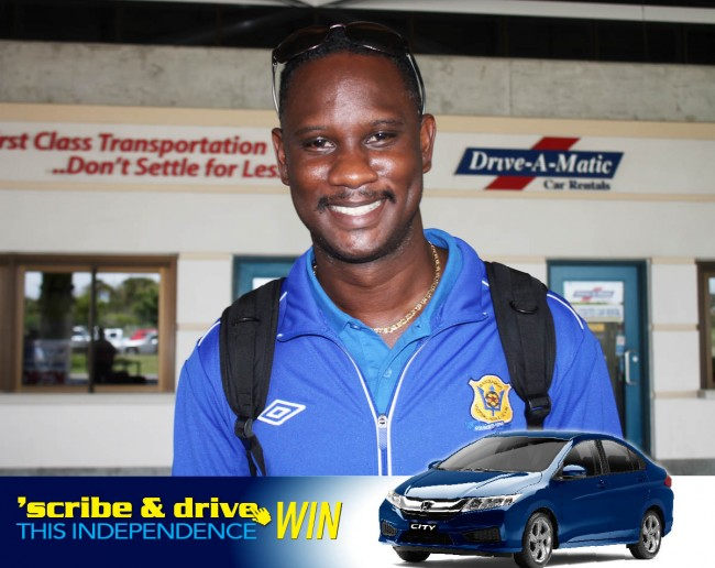 Manager of the Barbados team Fabian Wharton at the Grantley Adams International Airport this morning.
