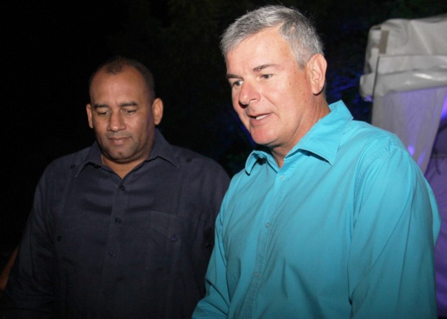 Chief executive officer of Terra Caribbean Andrew Mallalieu (right) and Minister of Tourism Richard Sealy.