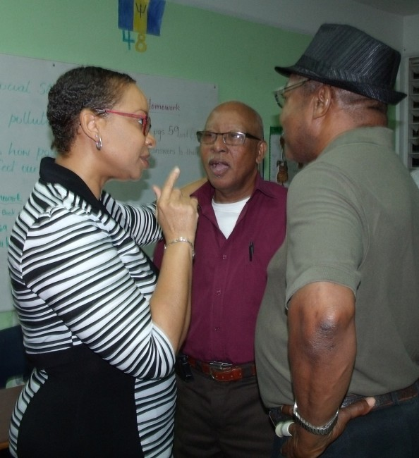 MP Maria Agard chatting with constituents after yesterday's branch meeting.