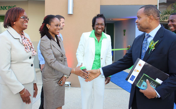 Minister of Finance Chris Sinckler (at right) meeting officials of  First Citizens Bank (Barbados).