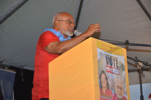 President Donald Ramotar as he delivered  his speech to residents at a rally at Bath Settlement, West Coast Berbice, Region Five.