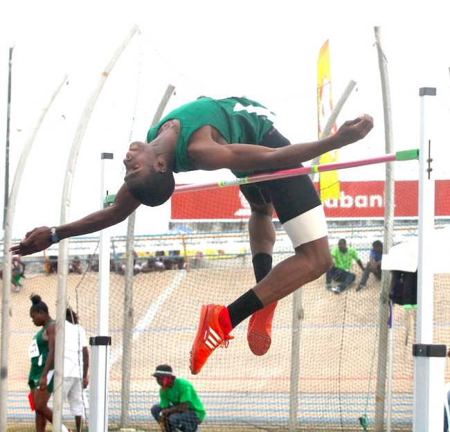 Antonio Farrell of Lester Vaughan was top class in the under-17 boys high jump going over the bar at 2.00m.