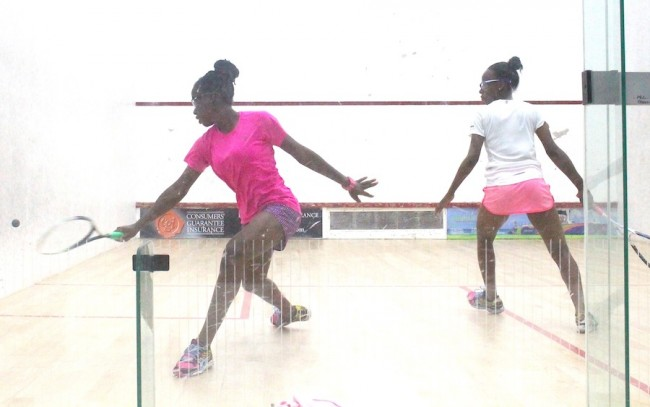Jada Smith-Padmore (left) had an easy game against her twin sister Jodi Smith-Padmore in the under-17 third place playoff.