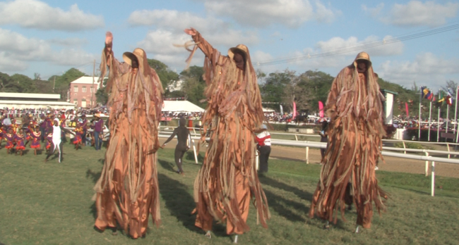 The Shaggy Bear stilt walkers attracted much attention.