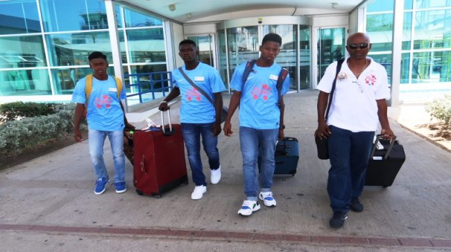 (Left to right) Sheran Hoyte, Dishon Howell, Avery Howell and Ron Greenidge on their arrival at Norman Manley International Airport.
