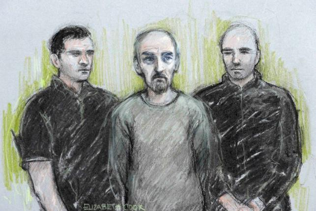 A court artist sketch by Elizabeth Cook shows Thomas Mair (C) appearing at Westminster Magistrates' Court in London, Britain June 18, 2016. Elizabeth Cook/Press Association via REUTERS