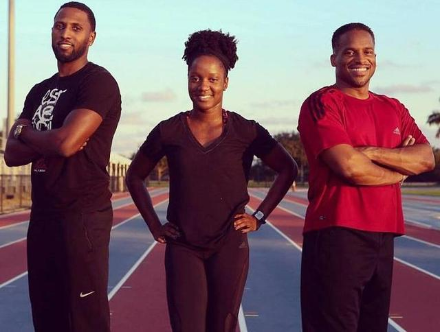 (From left) Richard Thompson, Kelly-Ann Baptiste and Ato Boldon at his sprint camp. (FP)