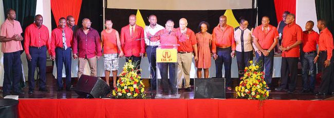 BLP general secretary Jerome Walcott (centre) lines up on stage with most of the party's recently nominated candidates.