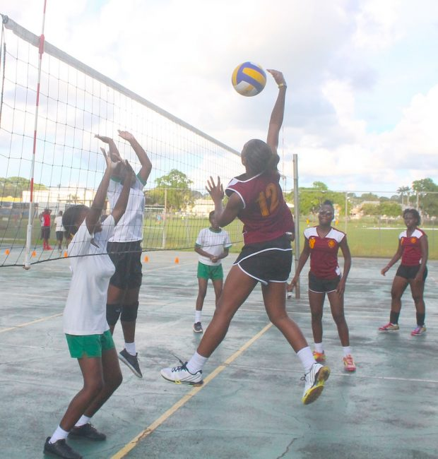 Donnique Alleyne of Harrison College scored easily past the St Michael School's defence. (Pictures by Morissa Lindsay)