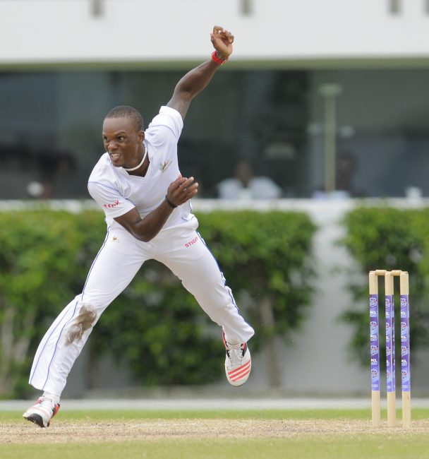 Kevin Stoute was the best of the Barbados bowling attack today. (FP)