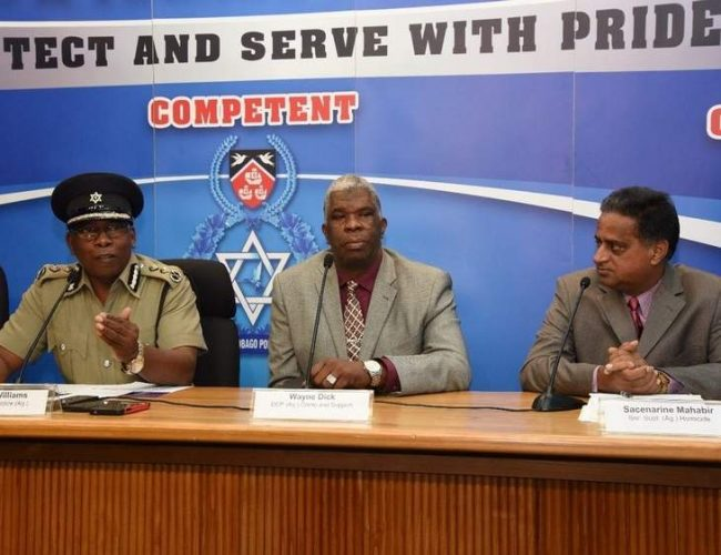 Acting Police Commissioner Stephen Williams (l)  speaking Wednesday.