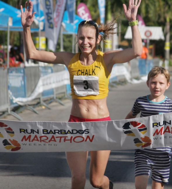 Amy Chalk from England was the first woman home in yesterday's marathon.