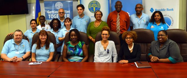 From left, Transplant Surgeon Andrew Williams; Transplant Links Community CEO Dr Jennie Jewitt-Harris; Dr Lisa Belle, nephrologist; Consultant Surgeon Dr Margaret O'shea; Republic Bank Manager, Marketing & Corporate Communications Debbie Stoute; and Social Investment Officer Nadia Williams. In back row, other members of the Transplant Links team join Chief Medical Officer Dr Joy St John, QEH CEO Dr Dexter James; visiting Transplant Surgeon Malcom Samuel and Republic Bank General Manager, Operations Susan Torry.