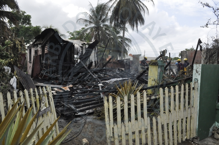 Ms Peters lost almost all of her possessions this morning when fire destroyed her home at Buckingham Road, Bank Hall, St Michael.
