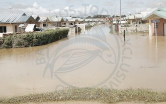 Water, water everywhere in the village of Greenville Park, La Horquetta. (All photos courtesy Trinidad Guardian.)