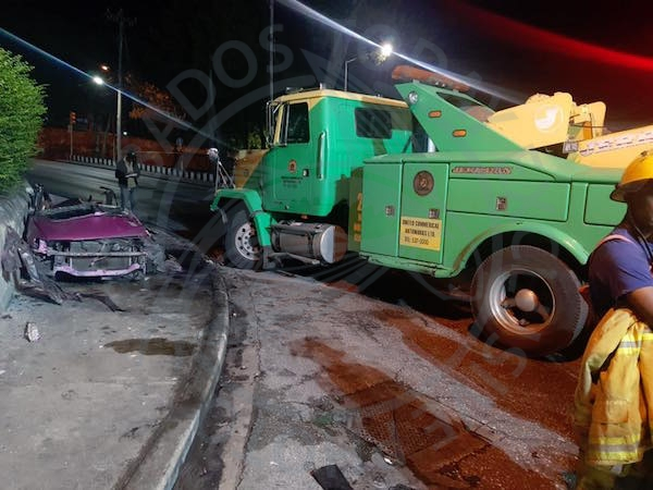 The scene of last night's accident involving a car and a wrecker truck, at the intersection of Tweedside Road, Government Hill, Welches Road, St Michael.