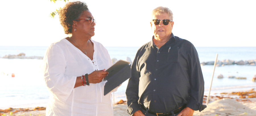 Flashback: Prime Minister Mia Mottley (left) and Sandals chairman Gordon 'Butch' Stewart tour the area where Sandals Beaches is set to open.