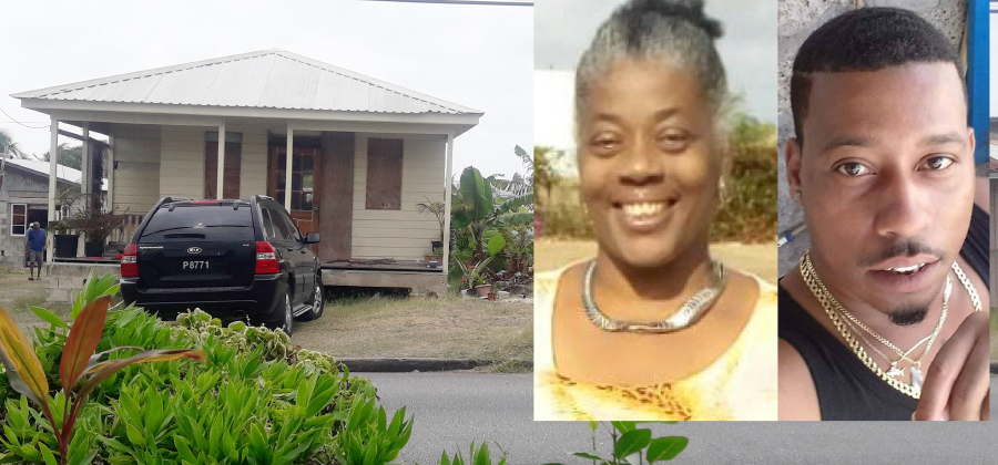 Jamal Mayers and his mother Betty Mayers (inset) were murdered on Sunday night in Rices, St Philip.