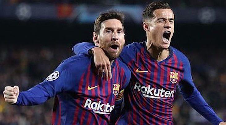 Lionel Messi (left) celebrates with Philippe Coutinho (right) after the Argentine gave Barcelona an early lead. (DailyMail)