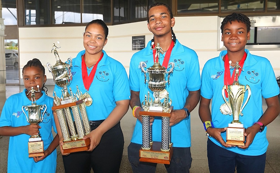 Age group gold medallists (from left) Under-11 girls champion Phoebe Gittens, Under-19s queen and king Meagan Best and Khamal Cumberbatch and Under-13 star Ebony Atherley. (Picture by Morissa Lindsay)