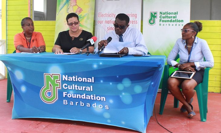 From left, producer of Bridgetown Market Allison Sealy-Smith, BL&P Communications Coordinator Jennifer Blackman, producer of Foreday Morning Jam Wayne Webster and NCF Communications Specialist Simone Codrington at today's news conference.