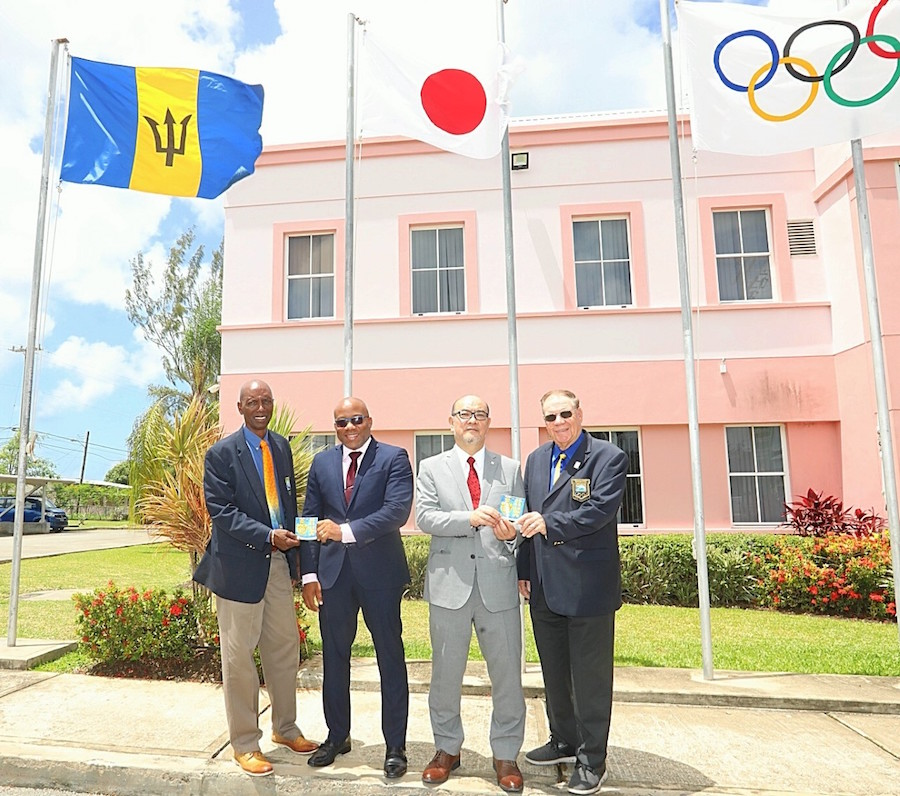 (From left) Chef de mission to Tokyo 2020 Cameron Burke, accounts development manager of IGT Global Services Limited, Patrick Clunis, Japan's ambassador Teruhiko Shinada and BOA vice-president Ralph Johnson. (Picture by Morissa Lindsay)
