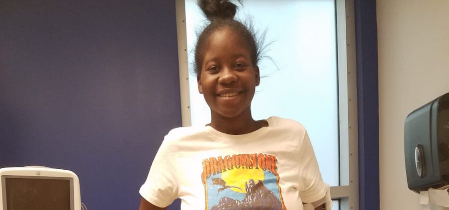 Shania Kirton at the at the Regional Medical Centre in Miami.