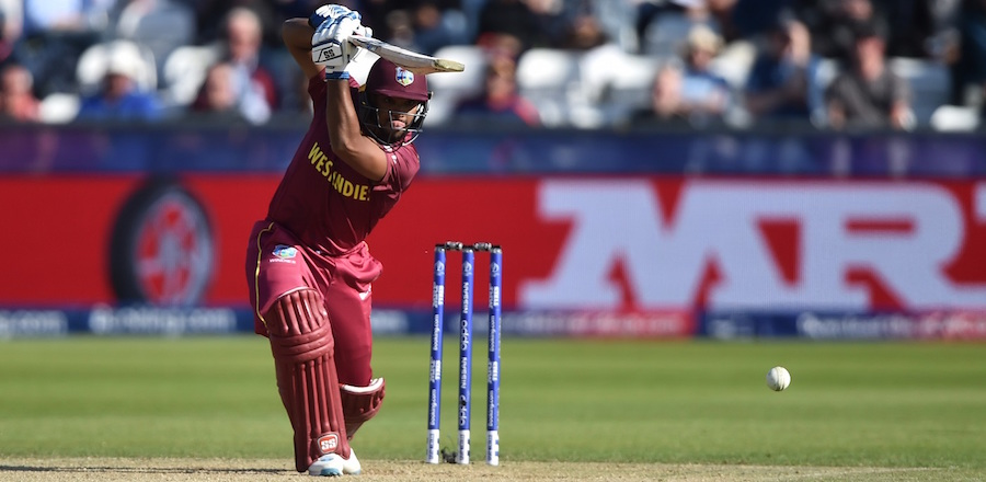 Nicholas Pooran on the go during his superb mainden international ton.